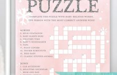 Printable Baby Shower Crossword Puzzle Game