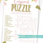 Baby Shower Crossword Puzzle Game . Pink And Gold Girl Baby Shower   Printable Baby Shower Crossword Puzzle Game