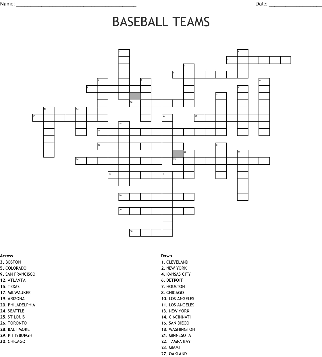 Baseball Teams Crossword - Wordmint - Baseball Crossword Puzzle Printable