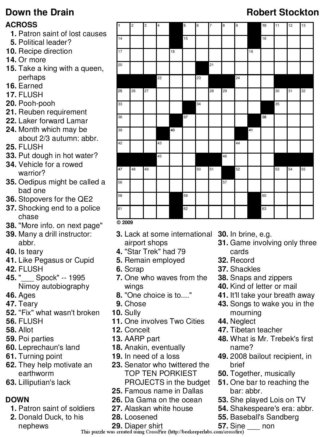 "Beekeeper Crosswords » Blog Archive » Crossword #98: ""Down The Drain"" - Printable Crossword Puzzle Solutions"