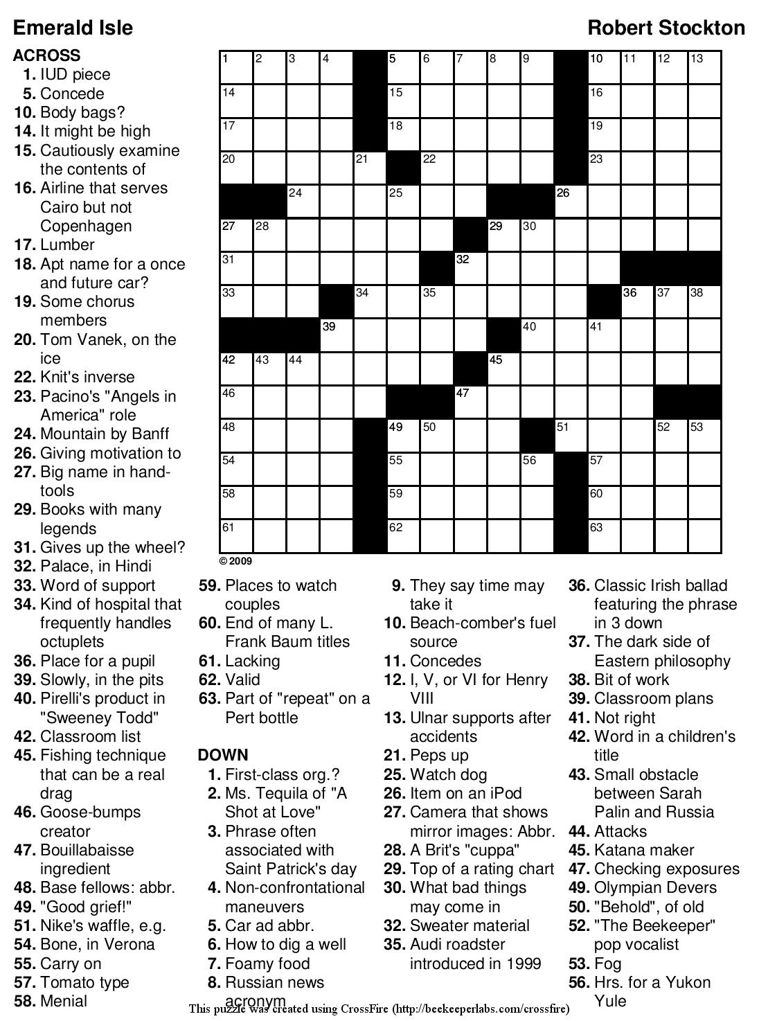 "Beekeeper Crosswords » Blog Archive » Puzzle #89: ""Emerald Isle"" - Printable Car Crossword Puzzles"