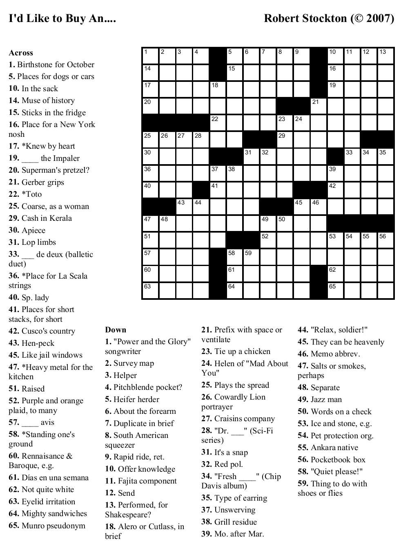 Beekeeper Crosswords - Printable Car Crossword Puzzles