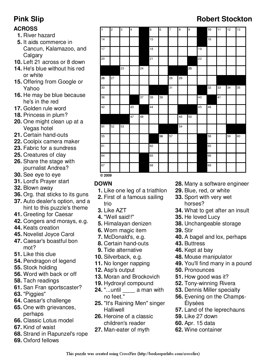 Beekeeper Crosswords - Printable Crossword Puzzles 2009