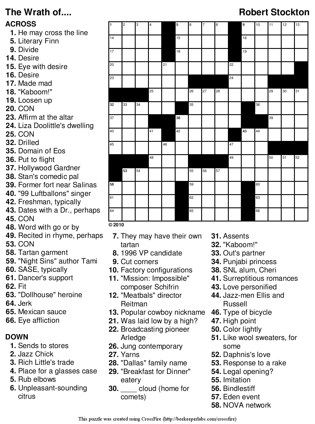 Beekeeper Crosswords - Printable Crossword Puzzles 2010