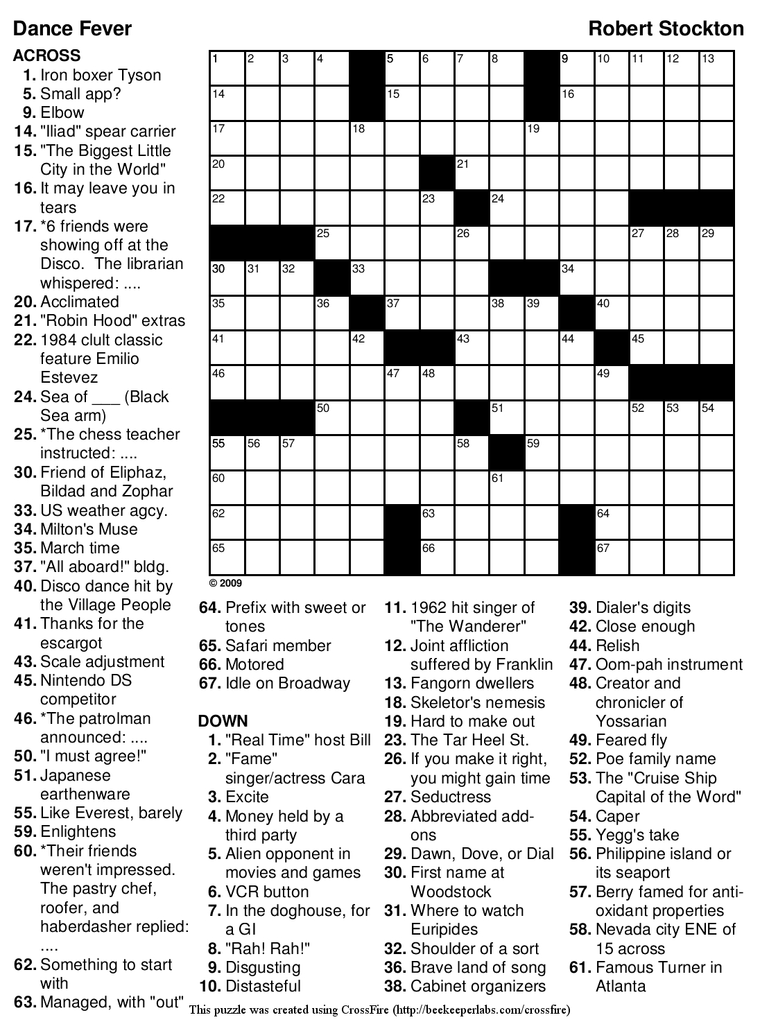 Beekeeper Crosswords - Printable Crossword Puzzles Solutions
