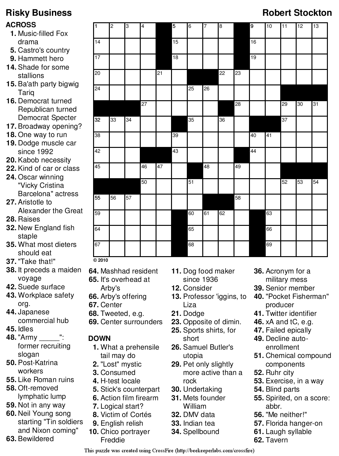 Beekeeper Crosswords - Printable Nursing Crossword Puzzles