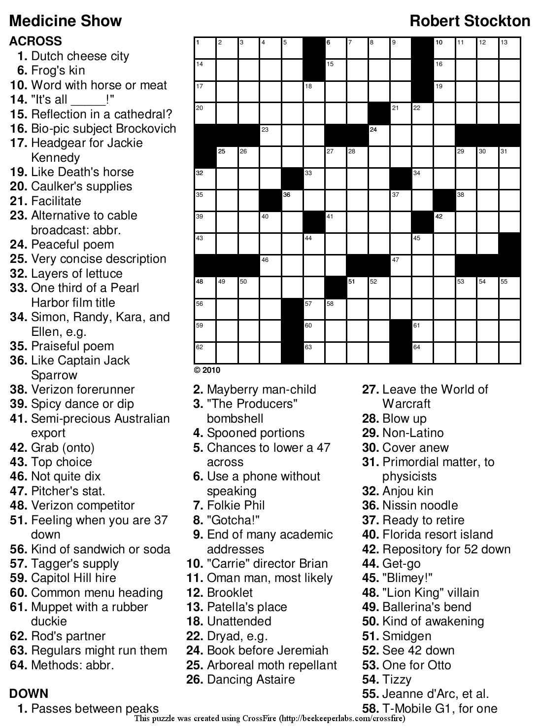 Beekeeper Crosswords - Printable Puzzles Solutions