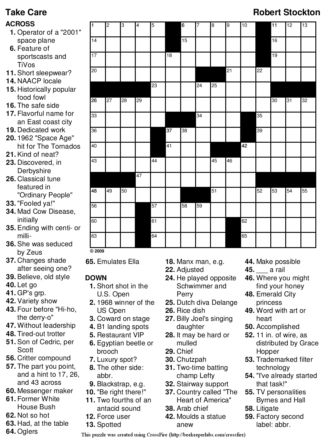 Beekeeper Crosswords - Printable Sports Crossword Puzzles With Answers