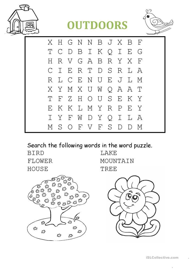 Being Outdoors: Word Puzzle Worksheet - Free Esl Printable - Worksheet Word Puzzle