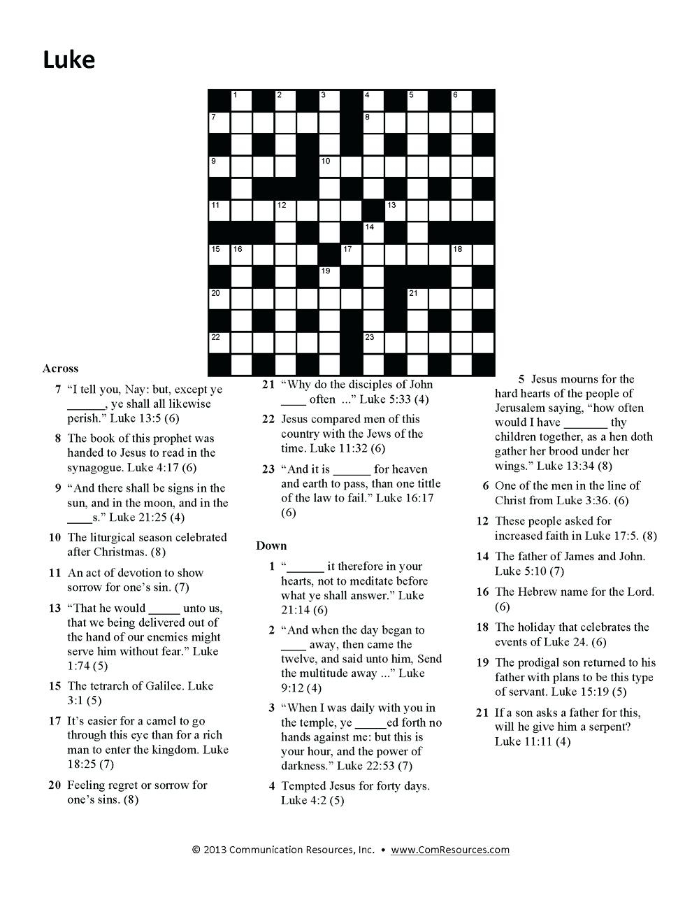 Bible Crossword Puzzles Printable - Masterprintable - Printable Holiday Crossword Puzzles For Adults With Answers