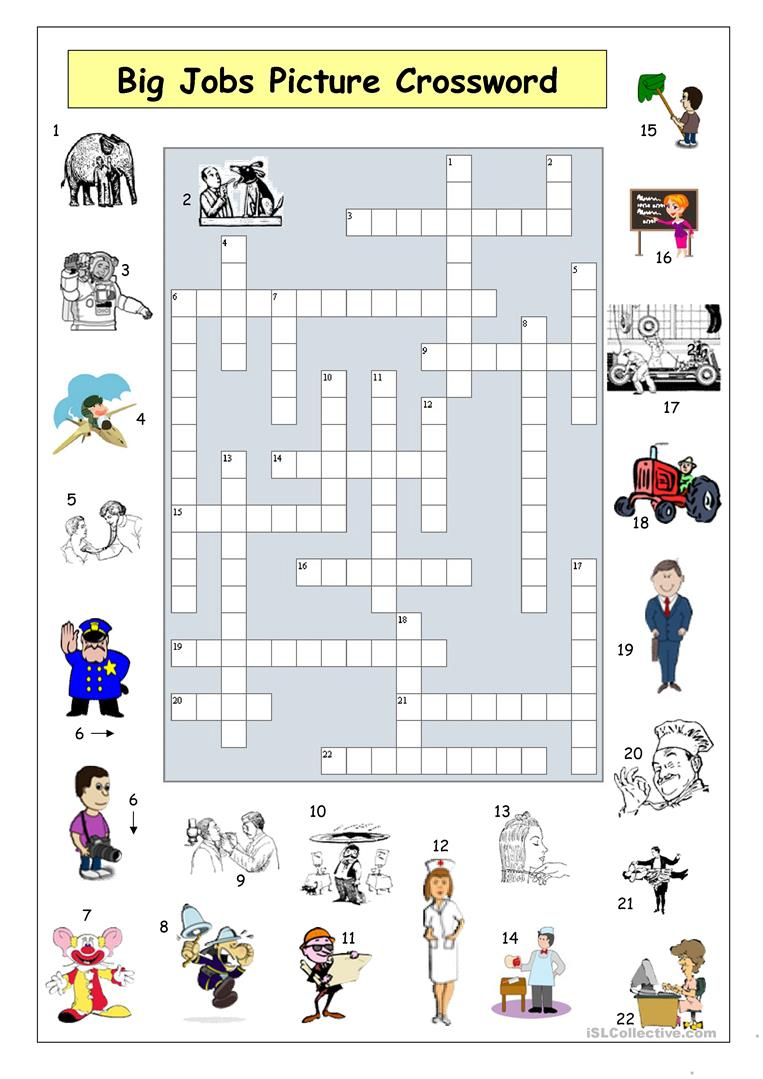 Big Jobs Picture Crossword Worksheet - Free Esl Printable Worksheets - Printable Crossword Puzzles Job