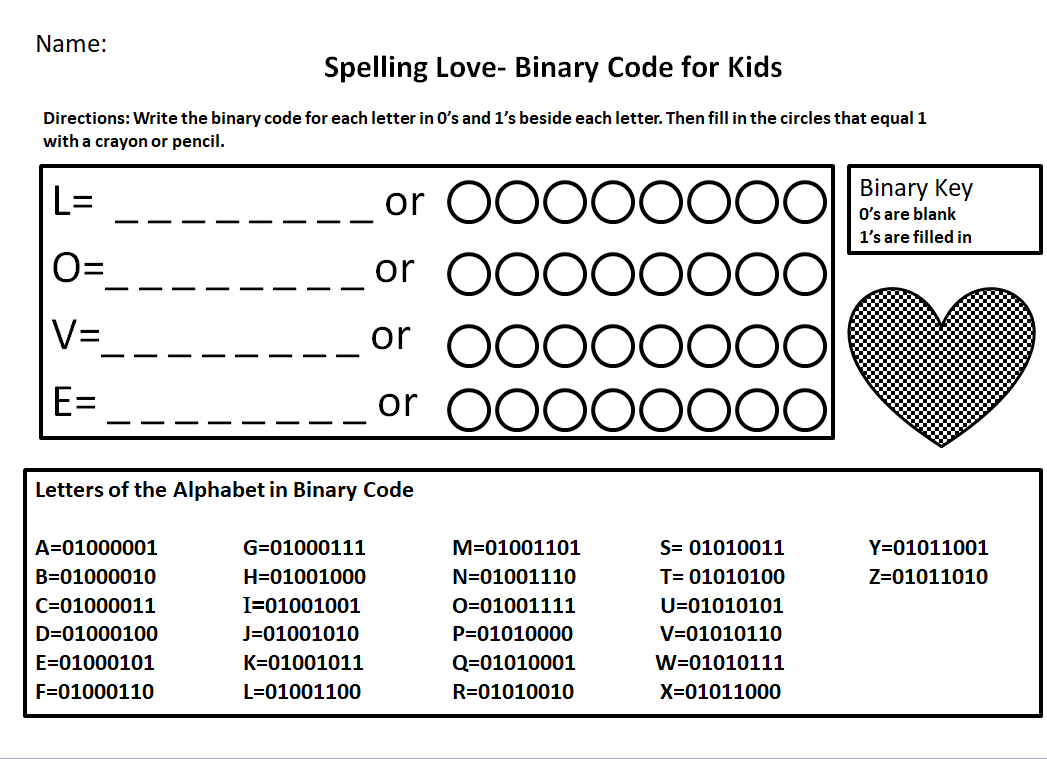 Binary Code For Kids Worksheet- Spelling Love - Jdaniel4S Mom - Printable Binary Puzzle