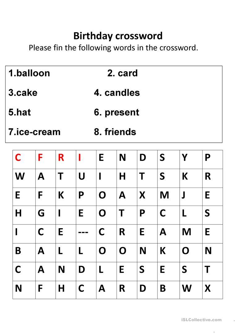 Birthday Crosswords Worksheet - Free Esl Printable Worksheets Made - Birthday Crossword Puzzle Printable