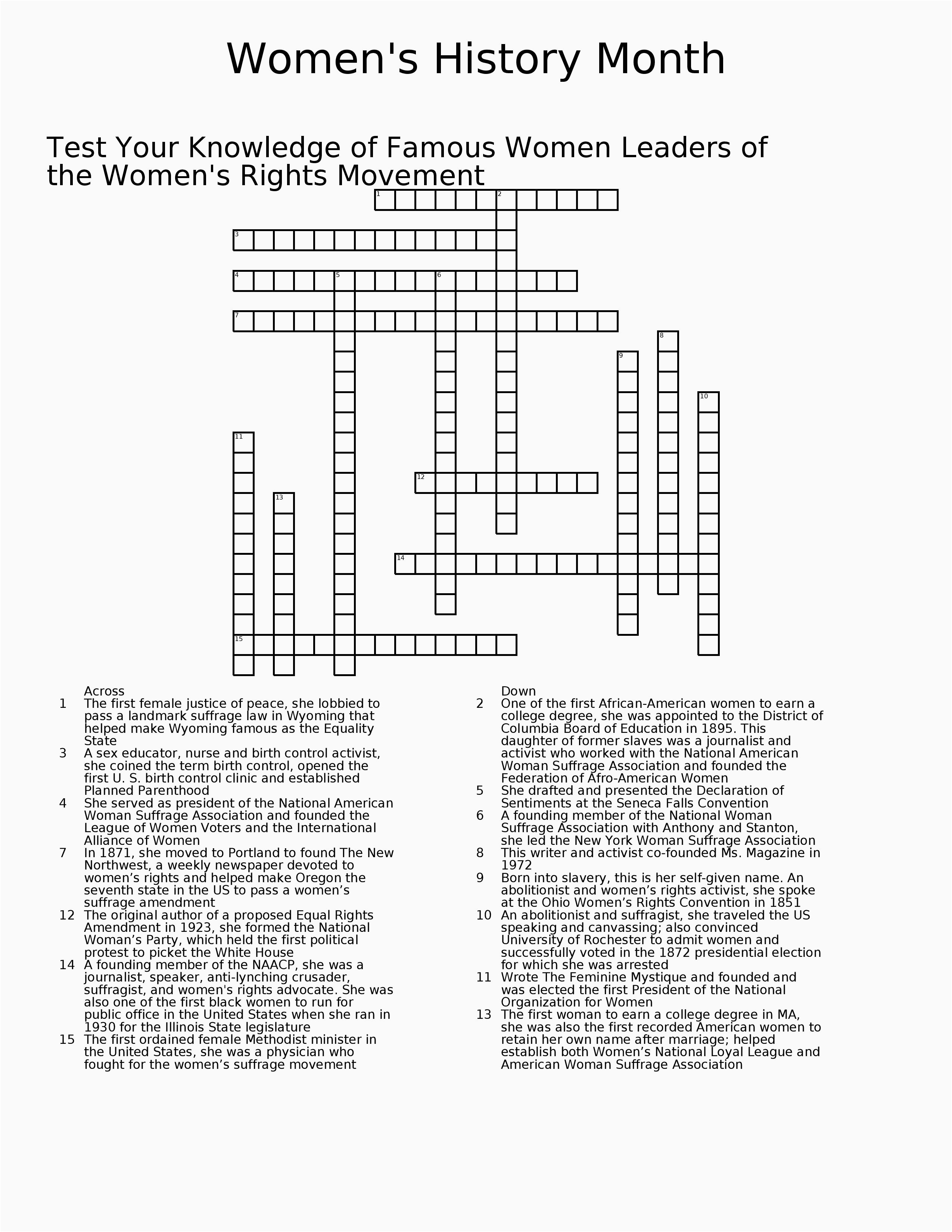 Black History Crossword Puzzle Printable – Open-Source-Design - Printable History Crossword