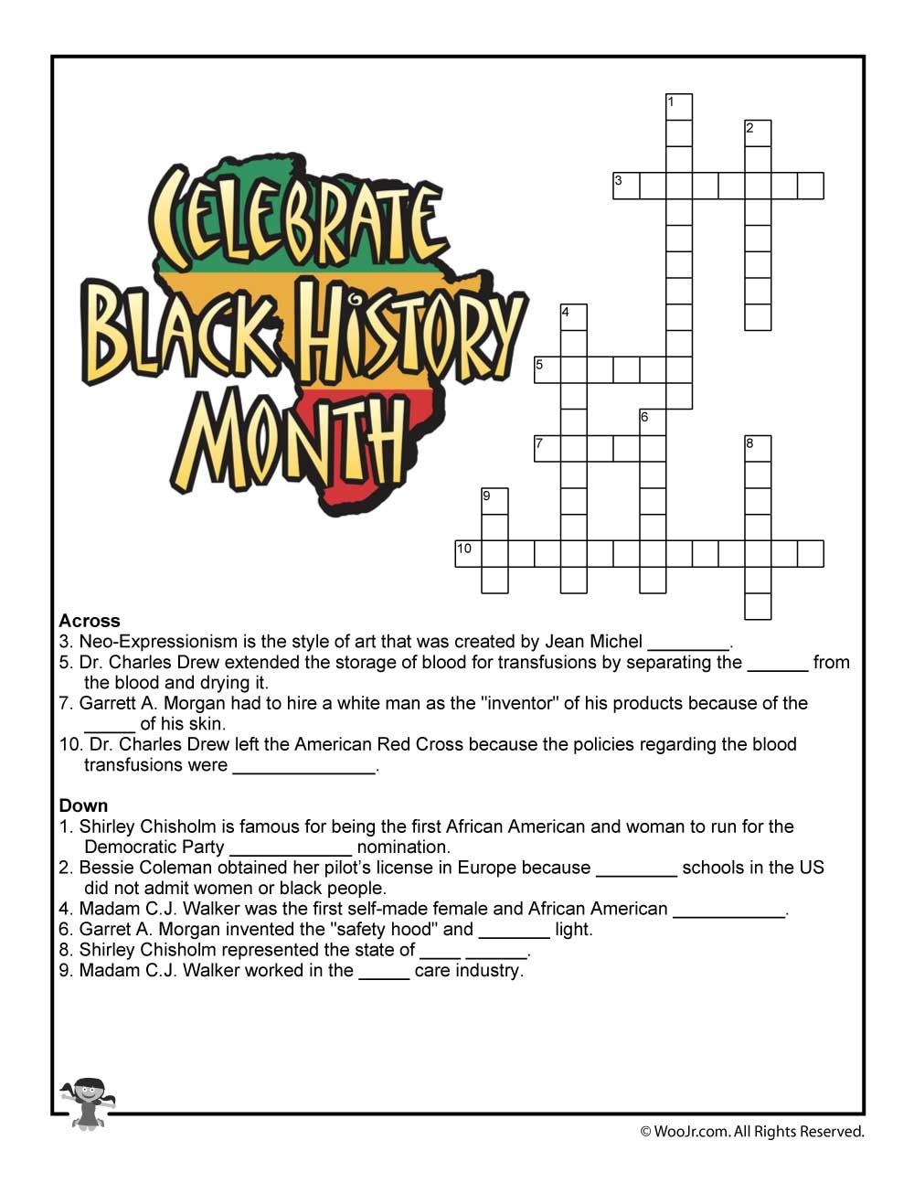 Black History Month Crossword Puzzle Worksheet   Woo! Jr. Kids - Printable History Puzzles
