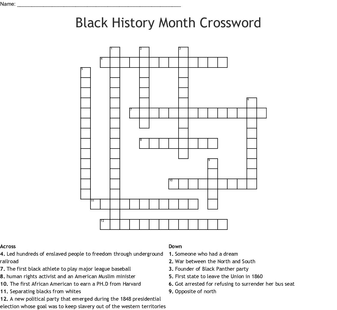 Black History Month Crossword - Wordmint - Black History Crossword Puzzle Printable