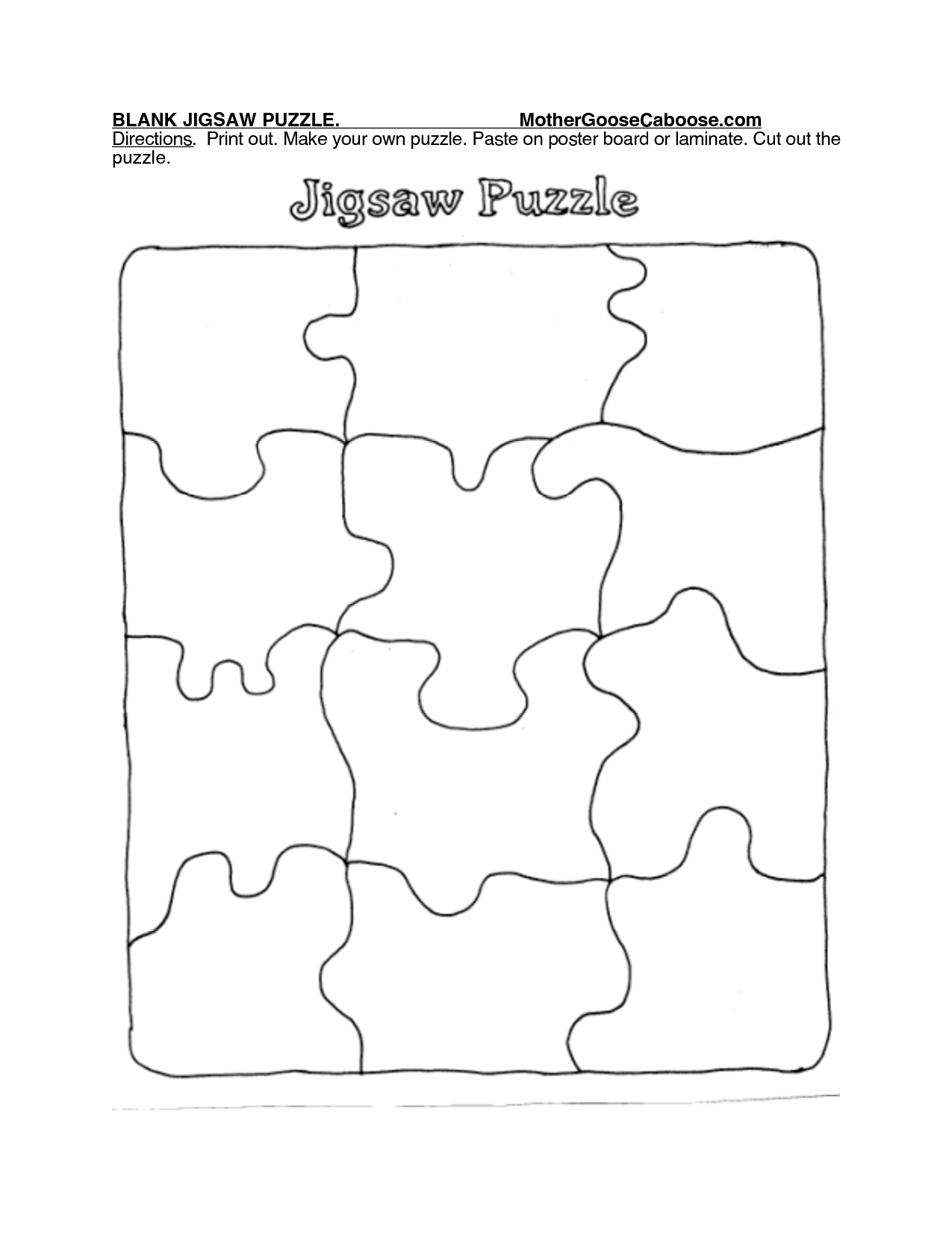 Blank Jigsaw Puzzle. Mothergoosecaboose Directions. Print Out - Puzzle Print Out