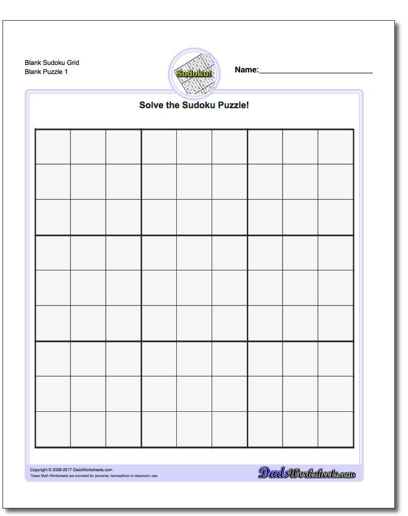 Blank Sudoku Grid | Math Worksheets | Sudoku Puzzles, Free Printable - Printable Sudoku Puzzle Grids
