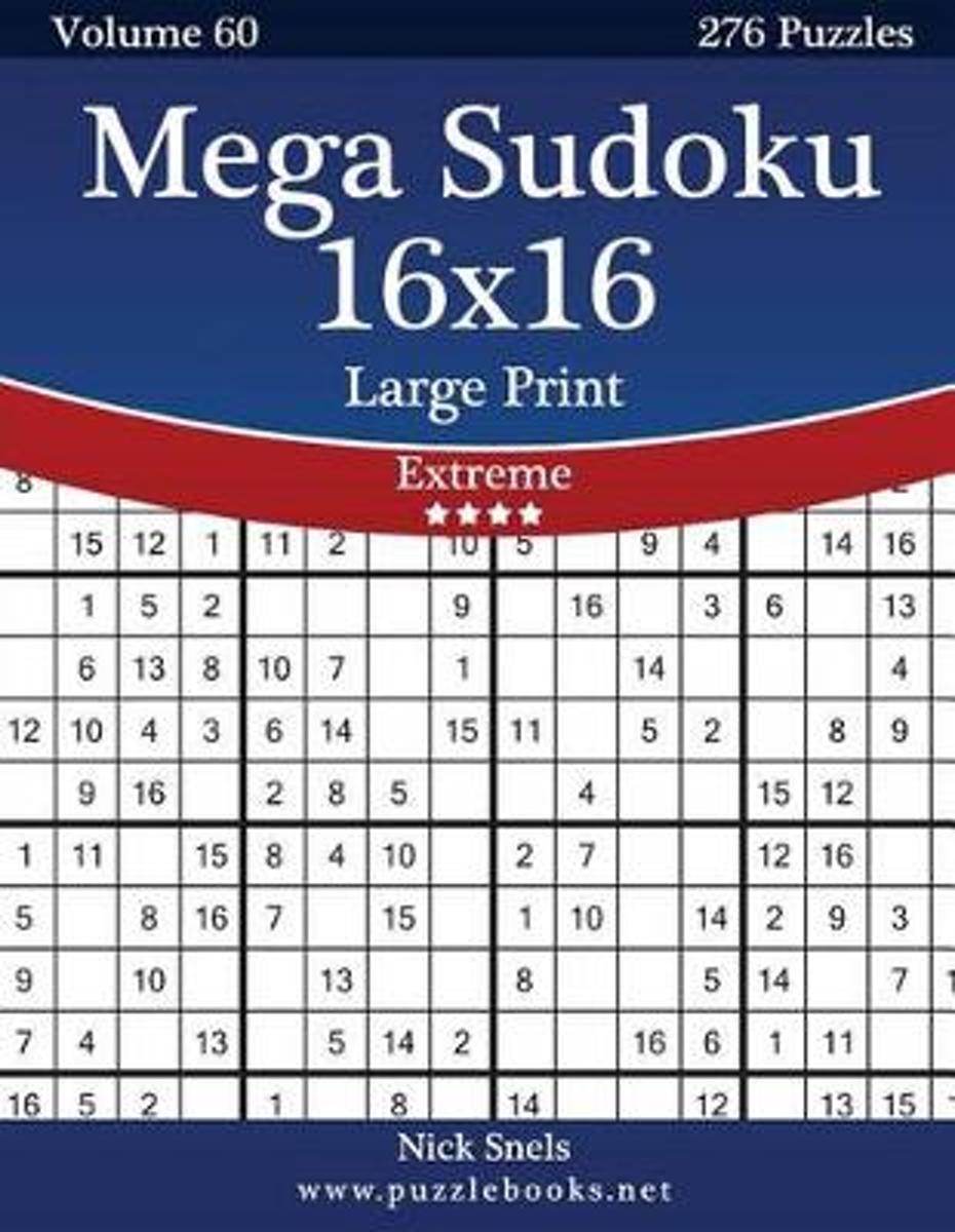 Bol | Mega Sudoku 16X16 Large Print - Extreme - Volume 60 - 276 - Printable Sudoku Puzzles 16X16