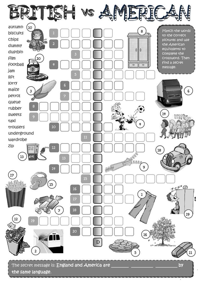 British Vs American English - Crossword Worksheet - Free Esl - Printable Crosswords English Vocabulary