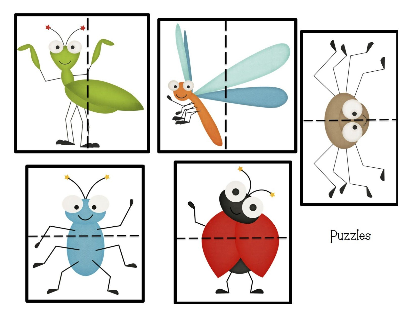 Bug Puzzles | Llenguatge Matemàtic - Printable Bug Puzzles