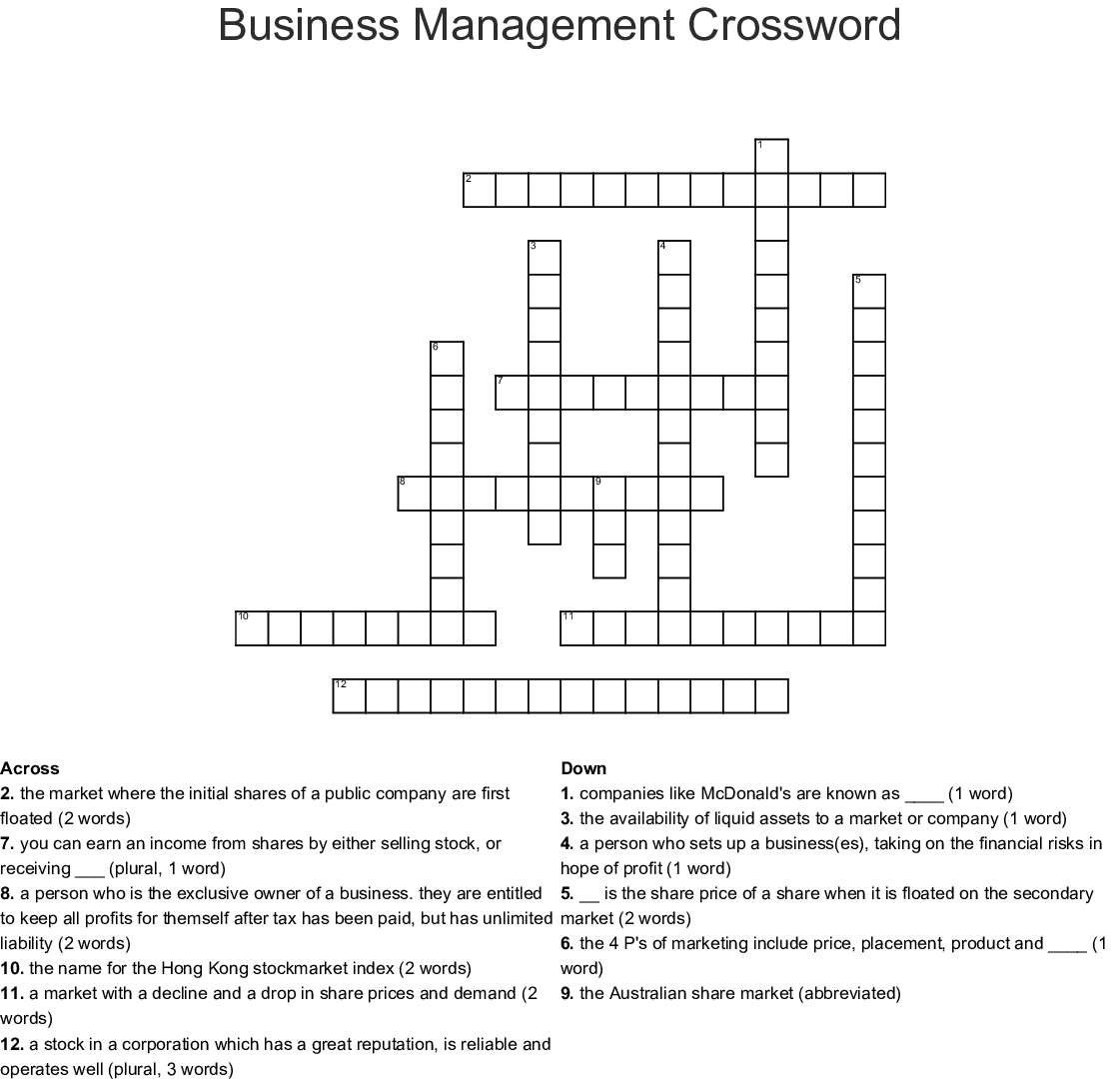 Business Management Crossword - Wordmint - Printable Crossword Puzzles Business And Finance