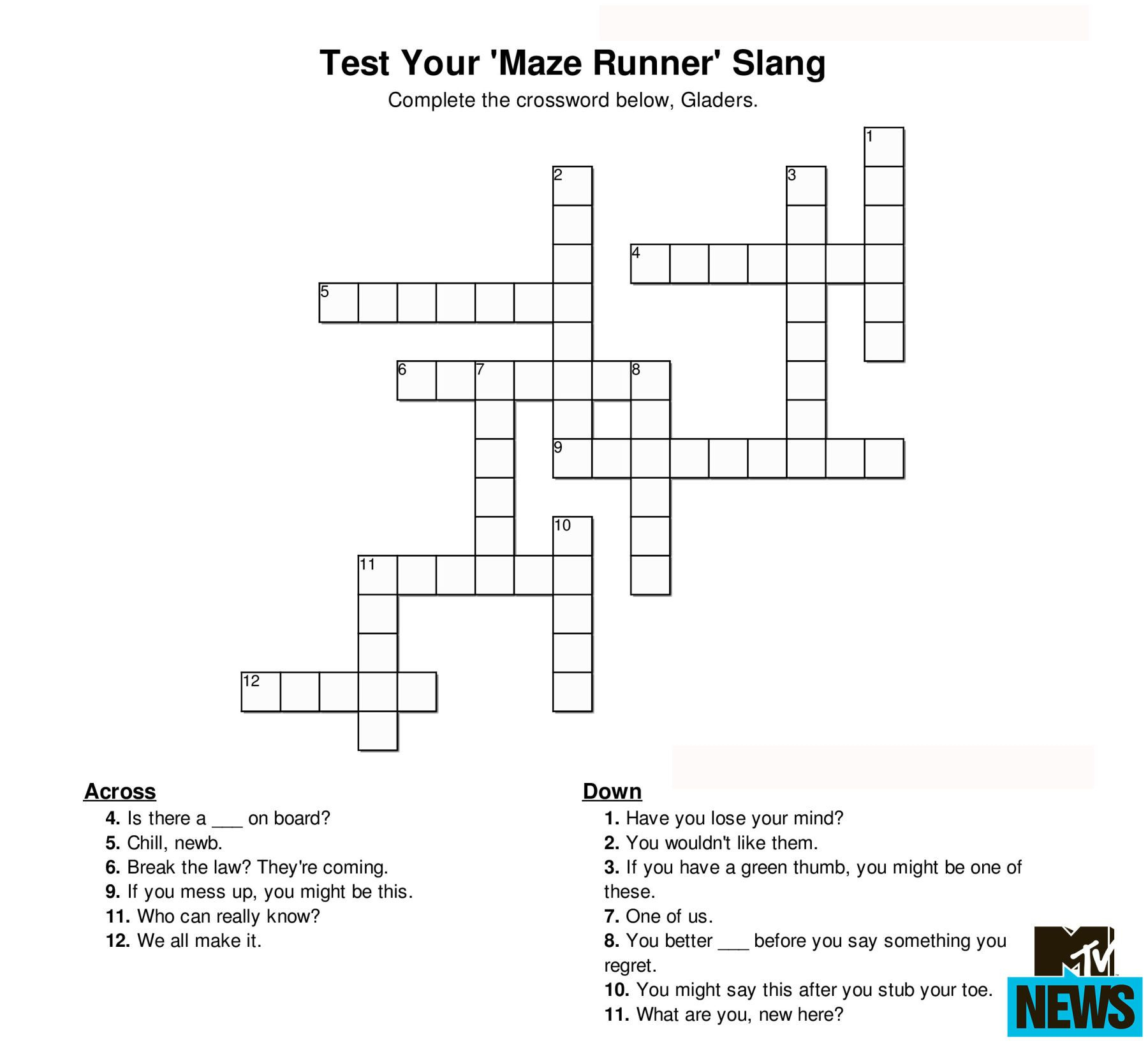 Can You Ace These 'hunger Games' And Ya Crosswords? | Surgery - Hunger Games Crossword Puzzle Printable