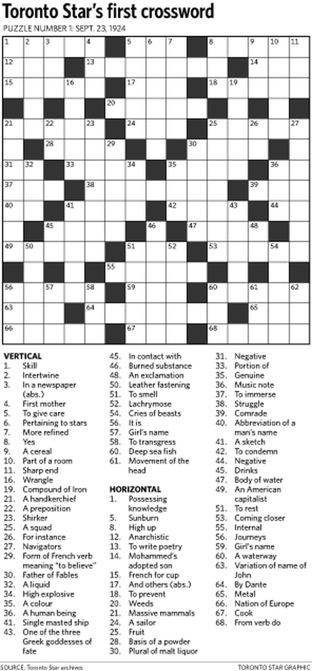 Can You Solve The Star's First Ever Crossword Puzzle From 1924 - Printable Crossword Puzzles Toronto Star