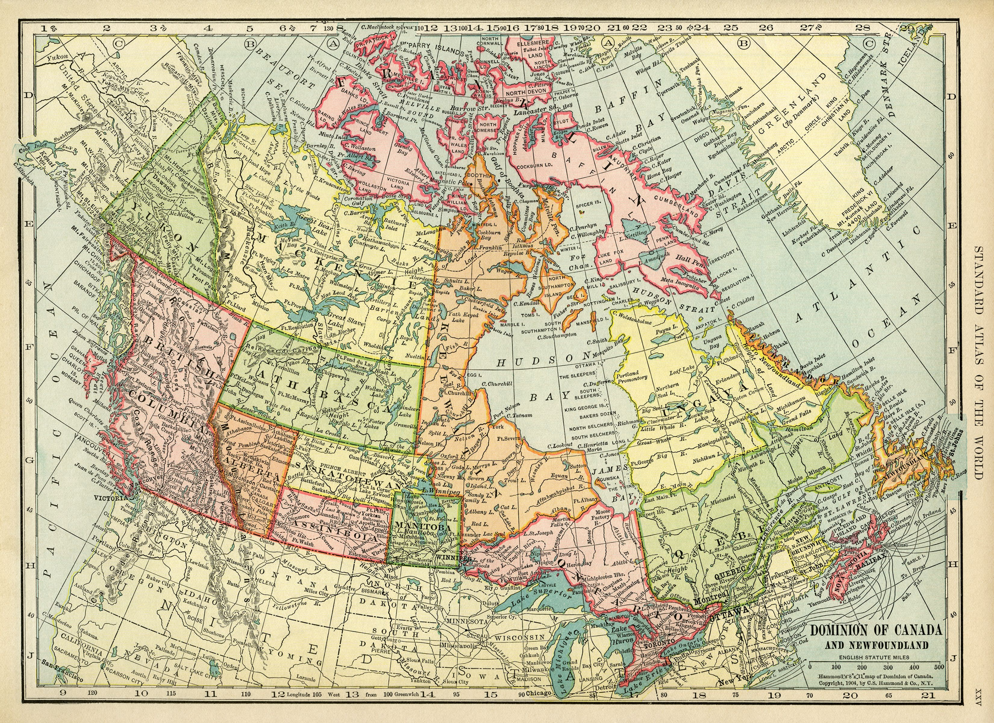 Canadian Map, Vintage Map Download, Antique Map Canada, C. S. - Print Puzzle Canada