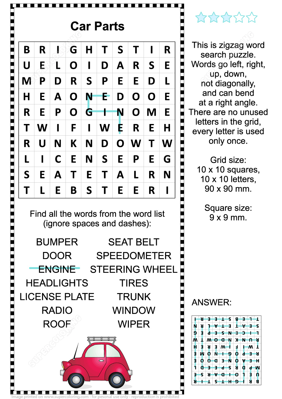 Car Parts Word Search Puzzle | Free Printable Puzzle Games - Printable Automotive Crossword Puzzles