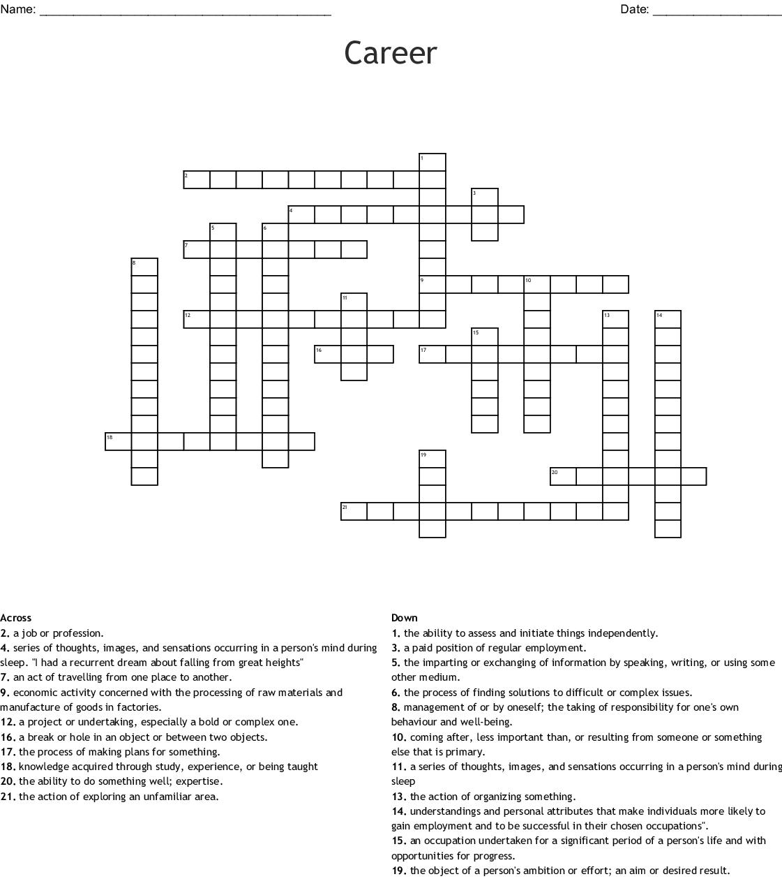 Career Crossword - Wordmint - Printable Crossword Puzzles Job