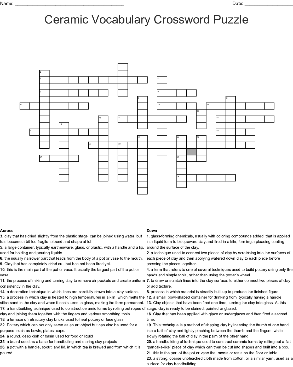 Ceramic Vocabulary Crossword Puzzle Crossword - Wordmint - Printable Vocabulary Crossword Puzzles