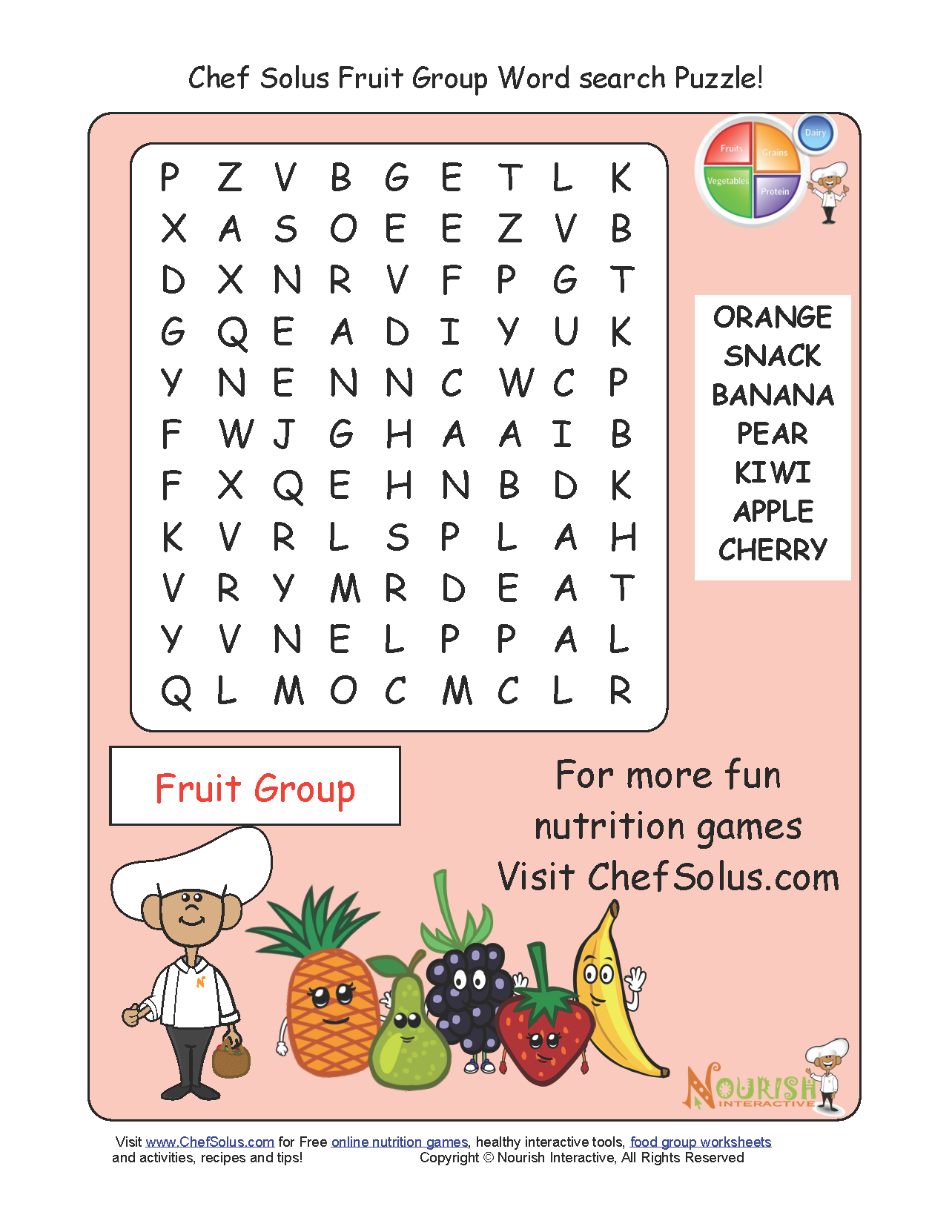 Challenge Your Little Chefs To A Fruit Group Word Search - Printable Nutrition Puzzles