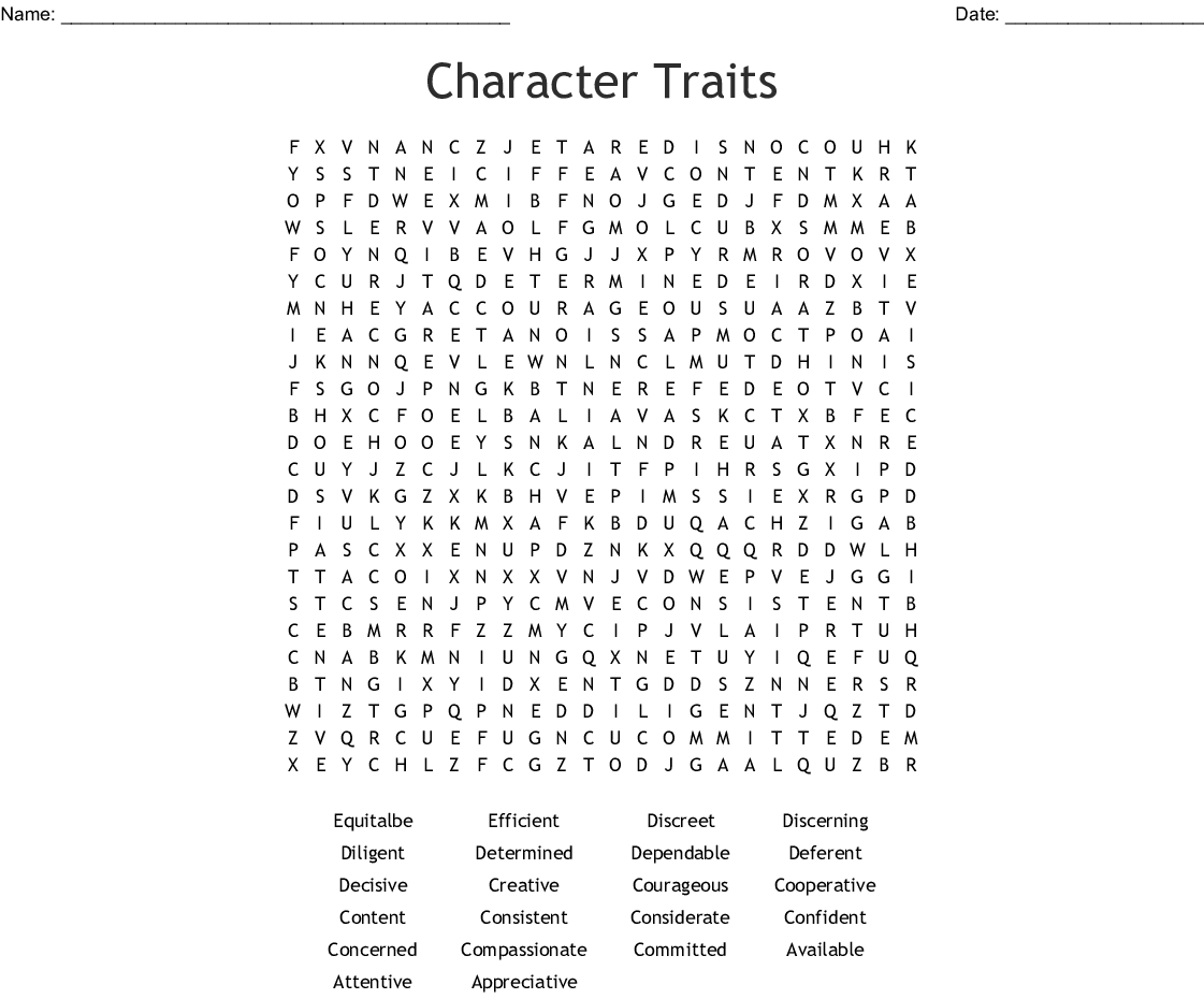 Character Traits Word Search - Wordmint - Printable Character Traits Crossword Puzzle