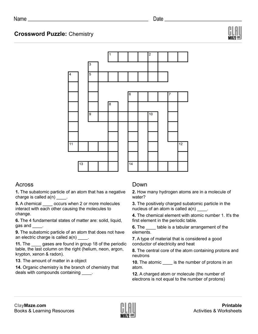 Chemistry Themed Crossword Puzzle | Free Printable Children's - Free - Crossword Puzzles For Kindergarten Free Printable