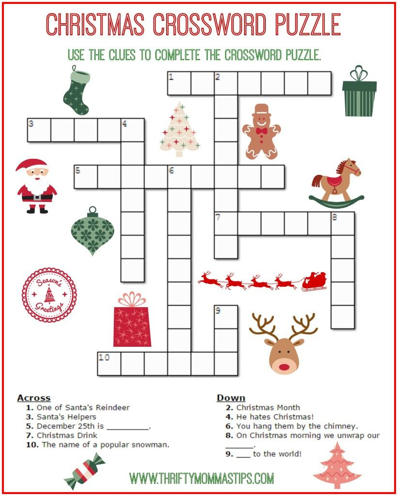 Christmas Crossword Puzzle Printable - Thrifty Momma's Tips   Free - Printable Crosswords For 6 Year Olds