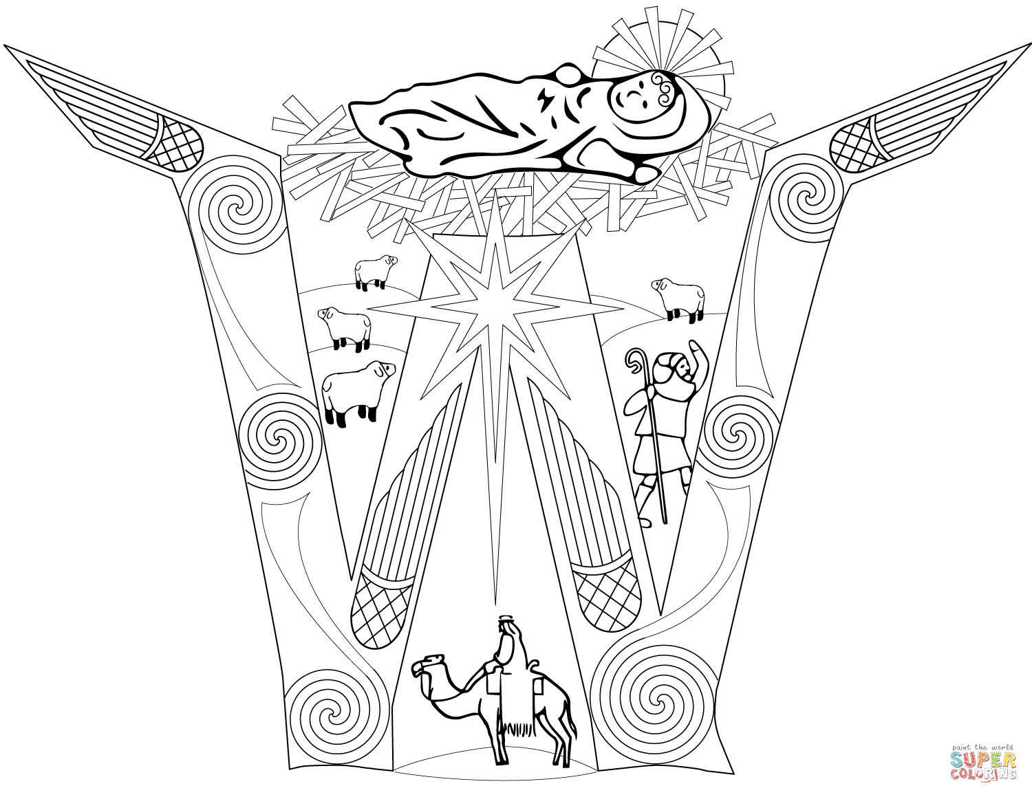 Christmas Nativity Scene Coloring Page | Free Printable Coloring Pages - Printable Nativity Puzzle