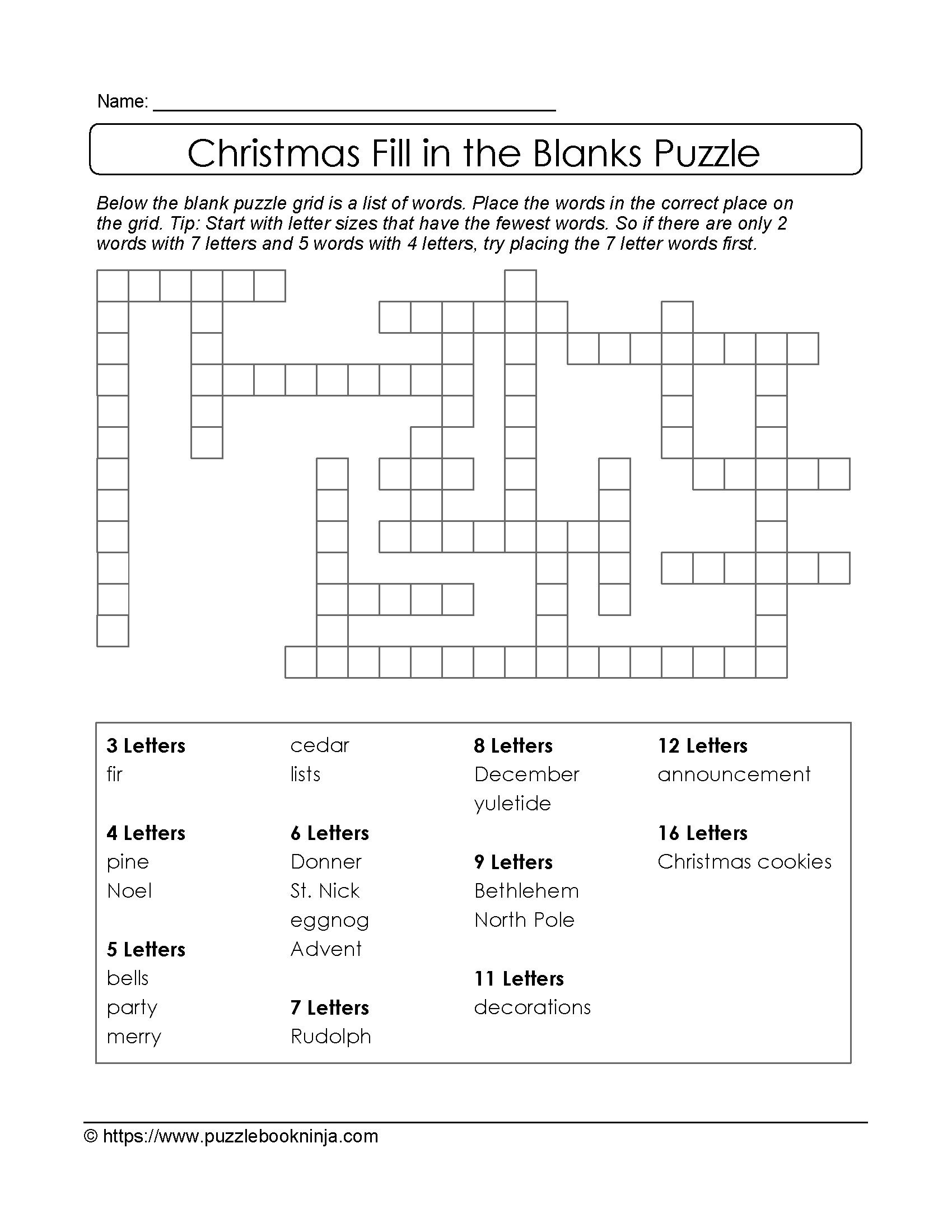 Christmas Printable Puzzle. Free Fill In The Blanks. | Christmas - Blank Crossword Puzzle Printable