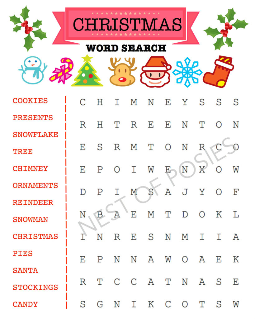 Christmas Word Puzzle Printables For Kids - Nest Of Posies - Printable Puzzle Christmas