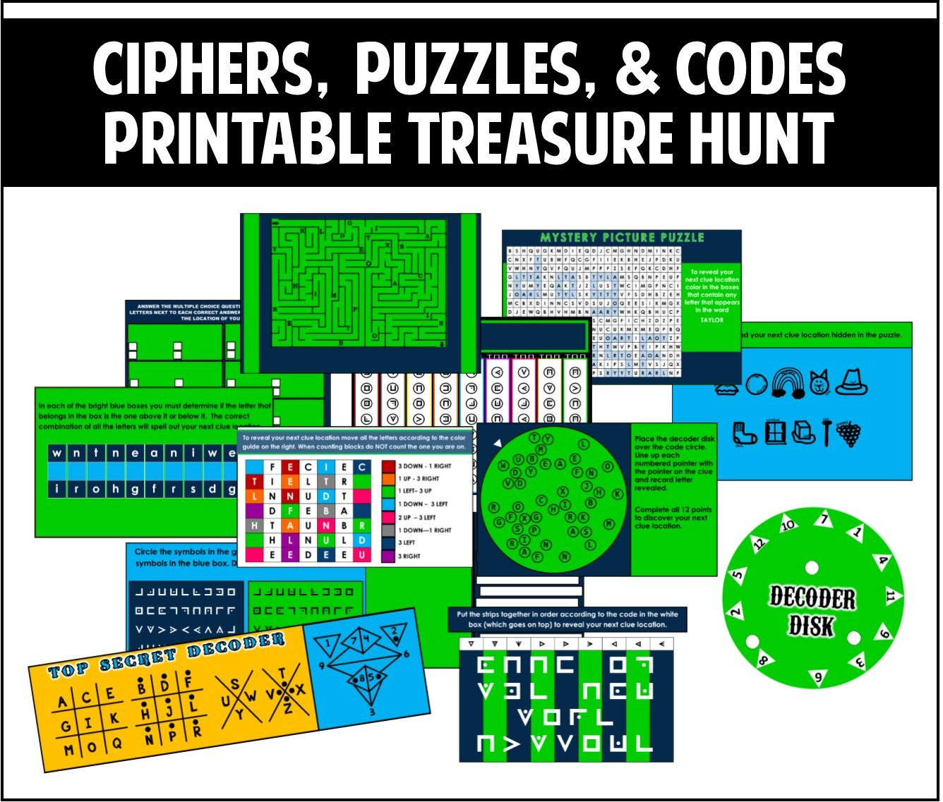 Ciphers, Puzzles, And Codes Treasure Hunt - Best Part Is That It Is - Printable Escape Room Puzzles