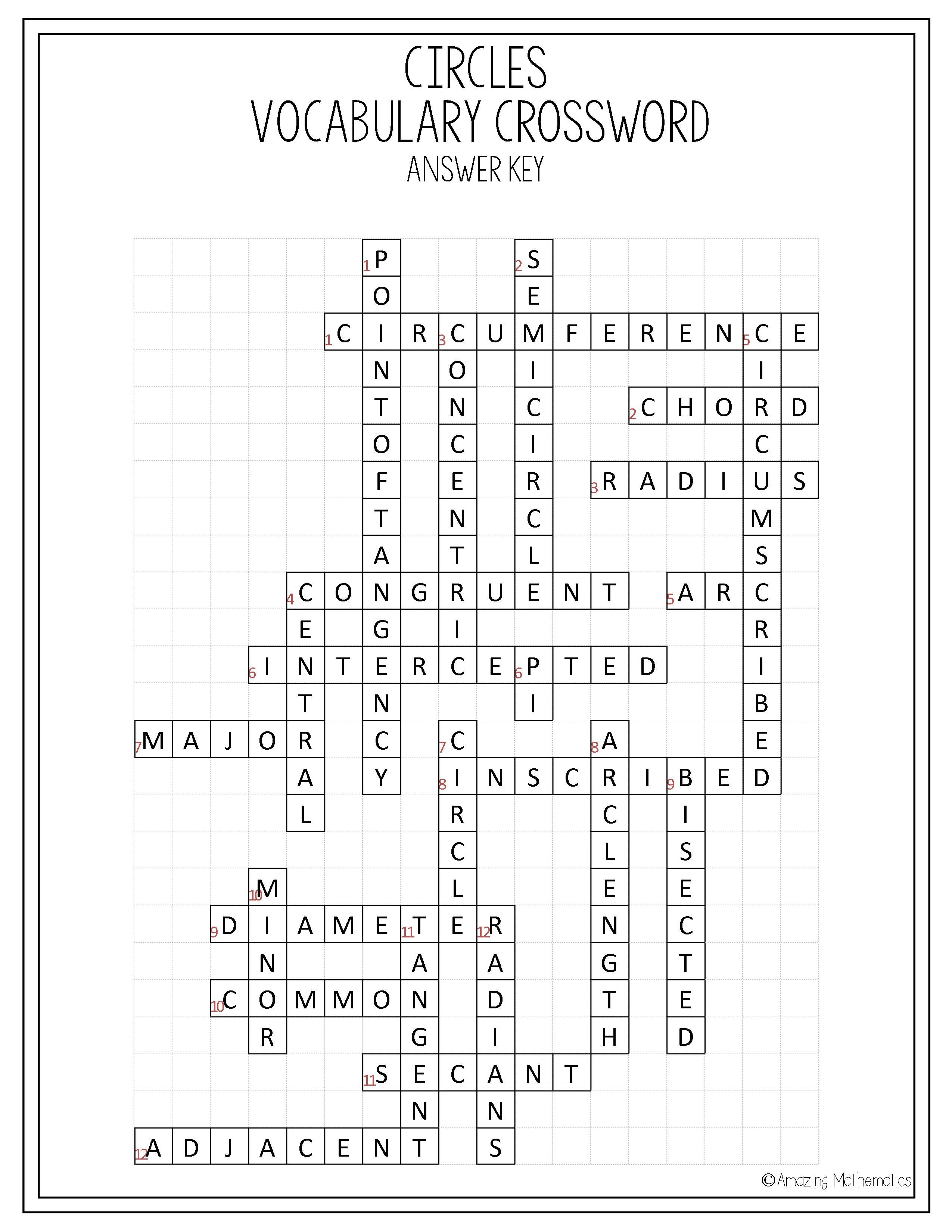 Circles Vocabulary Crossword   My Tpt Items   Geometry Worksheets - Math Vocabulary Crossword Puzzles Printable
