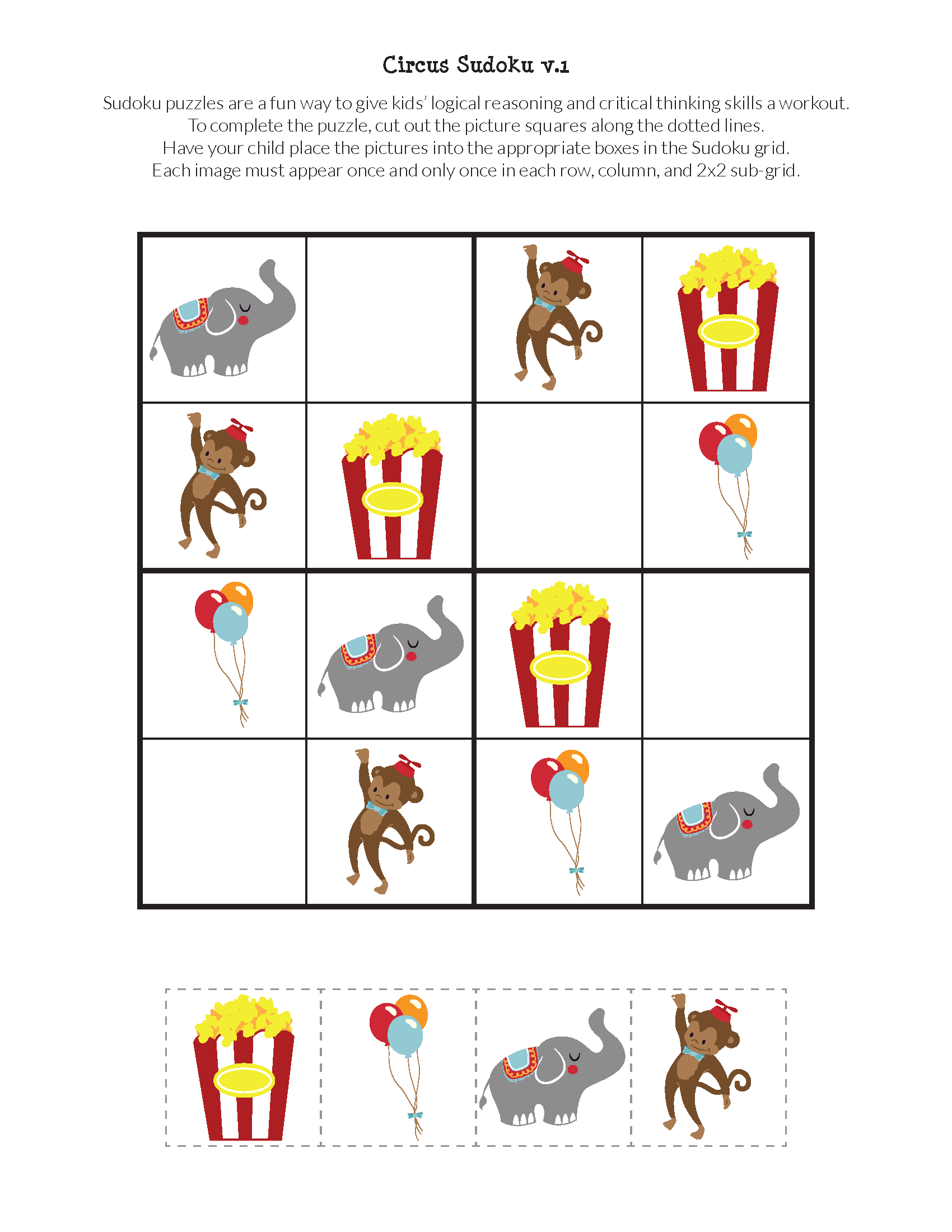 Circus Sudoku {Free Printables} - Gift Of Curiosity - Printable Puzzle Games For Preschoolers
