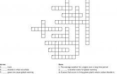 Global Warming Crossword Puzzle Printable
