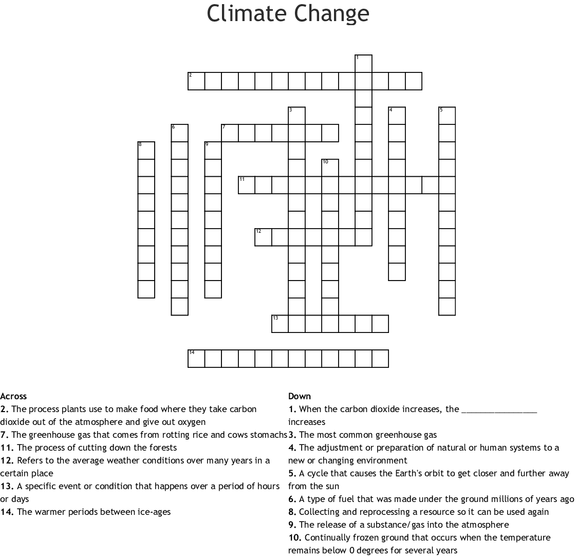 Climate Change Crossword - Wordmint - Printable Weather Crossword Puzzle