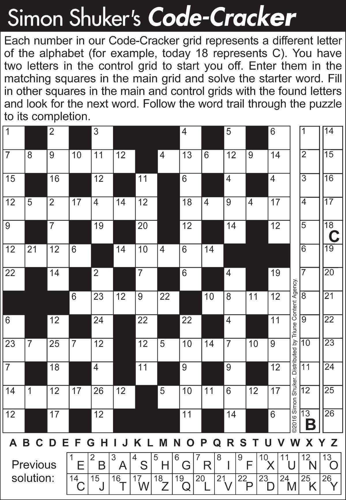 Code-Cracker Word Puzzles | Tribune Content Agency - Printable Codebreaker Puzzles