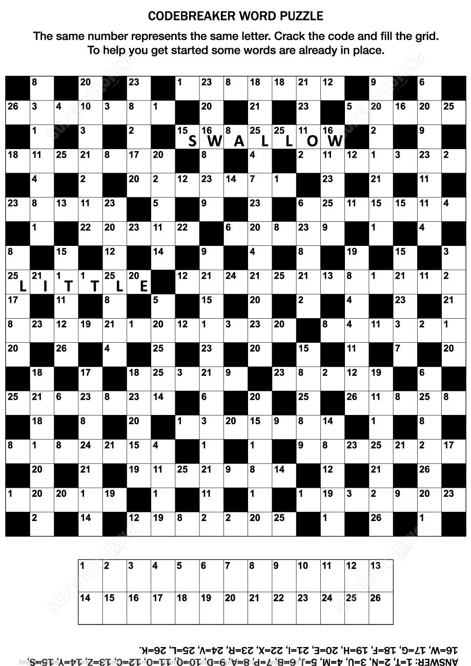 Codebreaker Word Puzzle   Free Printable Puzzle Games - Printable Codeword Puzzles