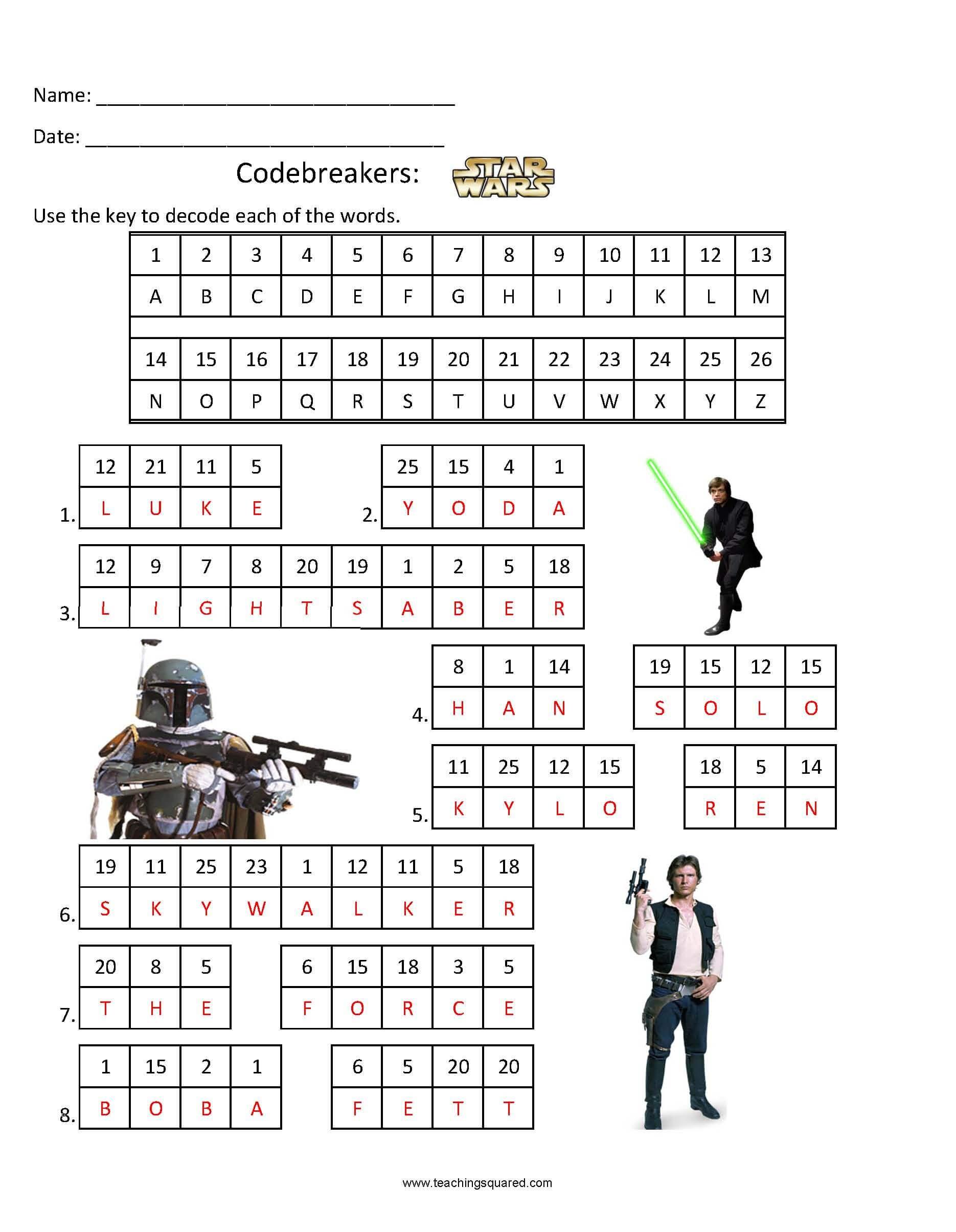 Codebreakers- Star Wars 1 - Teaching Squared - Star Wars Crossword Puzzle Printable