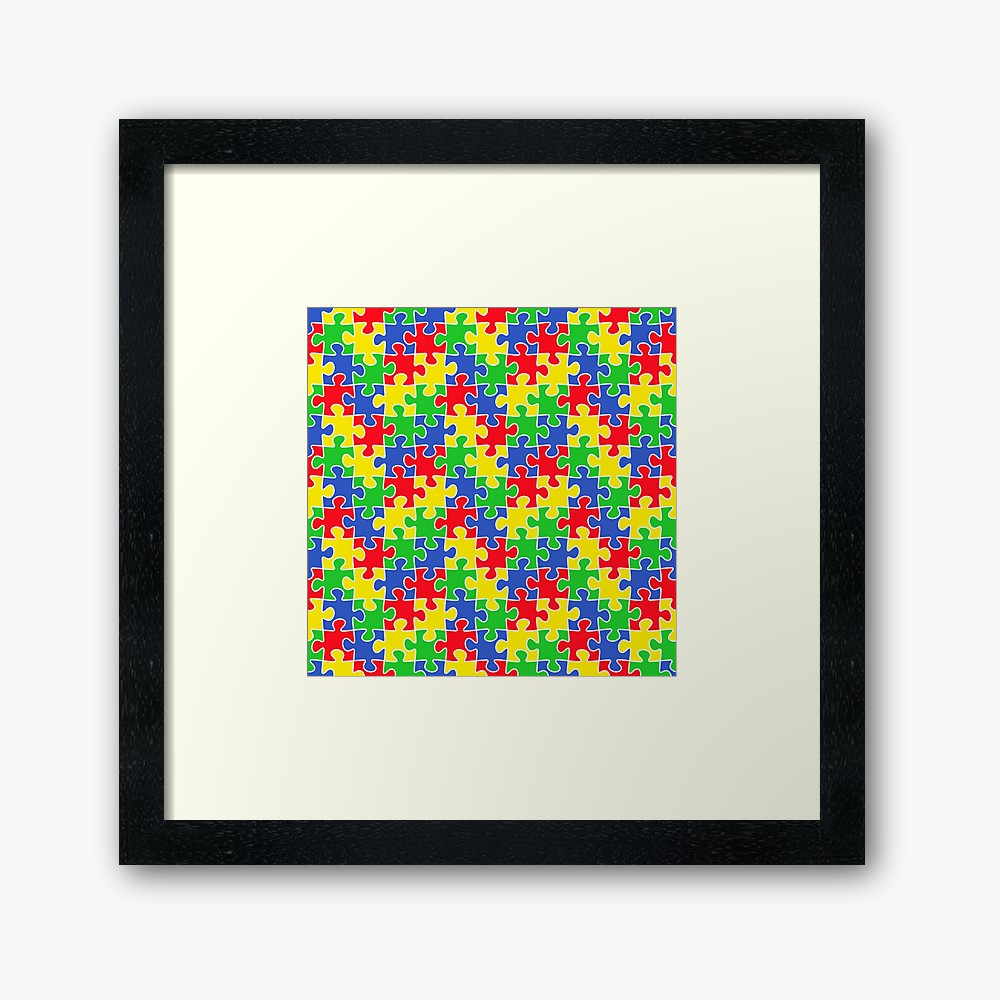 "Colorful Puzzle Pieces Autism Awareness April"" Framed Art Print - Printable Puzzle Piece Autism"