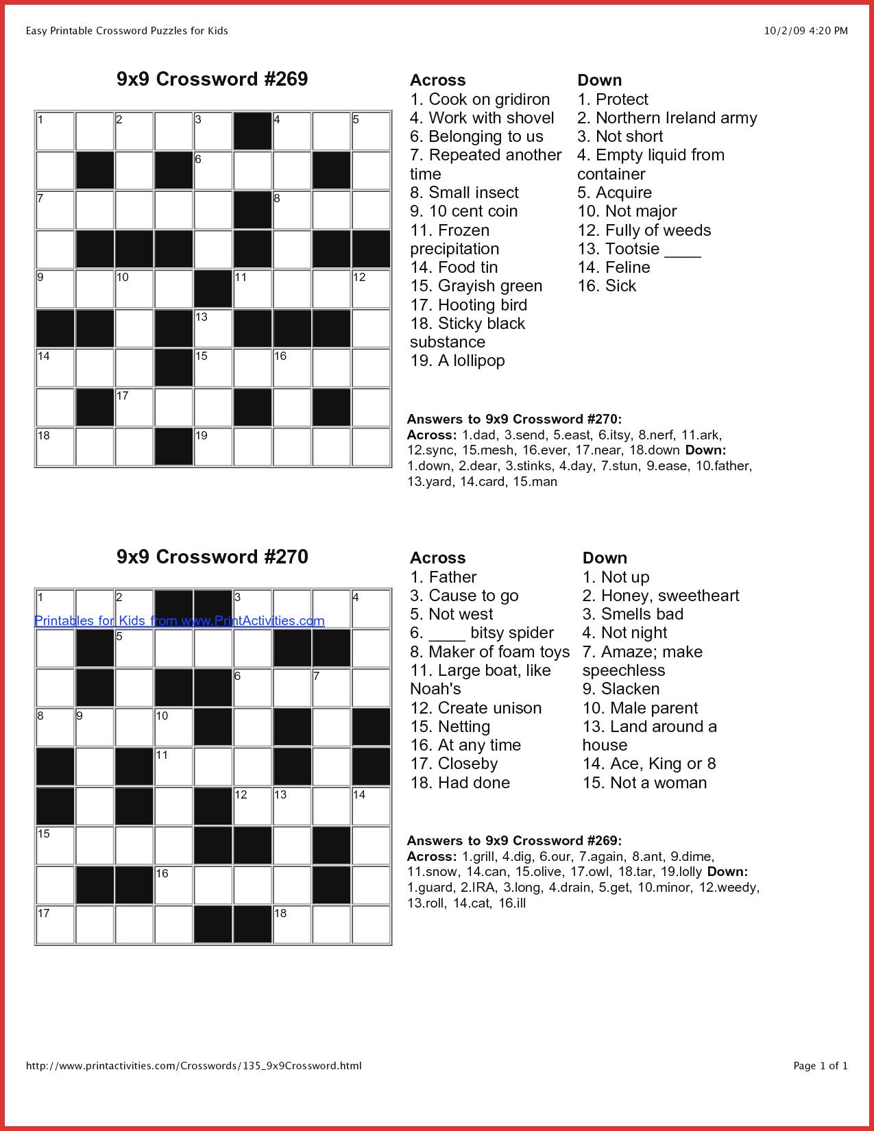 Coloring ~ Splendi Large Print Crossword Puzzles Photo Inspirations - Print Puzzle Online