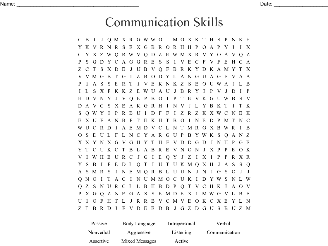 Communication Skills Word Search - Wordmint - Printable Communication Crossword Puzzle